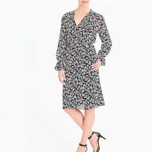 J Crew Factory Black Floral Long Sleeve Dress